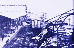 空襲直後の福山駅